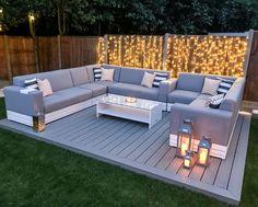 Back Garden Design, Modern Garden Design, Big Garden, Modern Patio, Backyard Seating, Backyard Patio Designs, Backyard Ideas, Diy Garden Seating, Small Backyard Decks