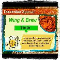 December Wing and Brew special!!