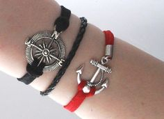 Antique Silver Bracelet, Sailor bracelet, Anchor Jewelry, Compass Bracelet, Black Bracelet, Everyday Bracelet