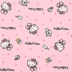 pink Hello Kitty oxford fabric breakfast confetti by Sanrio from Japan