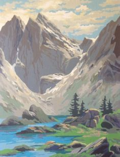 Two Vintage Paint by Number Paintings of Mountains by esmeelynne