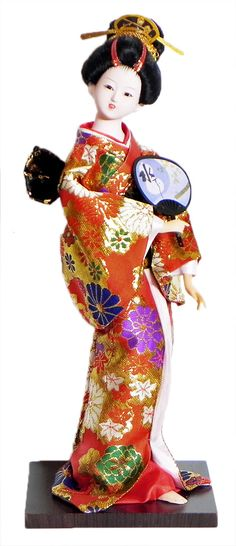 Japanese Geisha Doll in Red with Weaved Golden Design Kimono Dress Holding Fan (Cloth, Clay, Plastic and Thermocol)