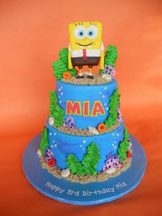 SpongeBob Underwater Birthday Cake by CakesUniqueByAmy.com, via Flickr