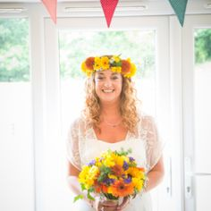 Clare and Andrew didn't let the rain get in the way of their gorgeous outdoor wedding. Colored Wedding Dresses, Boho Wedding Dress, Wedding Colors, Diy Wedding, Wedding Day, Flower Crown Wedding, Flower Crowns, Wedding Flowers, Rainbow Flowers