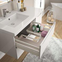 Plan vasque Cedam en marbre reconstitué brillant - cuve carrée positionnée à gauche (gamme Feeling). Cette configuration permet d'obtenir une plage de pose supplémentaire permettant de placer produits de toilette et cosmétiques.