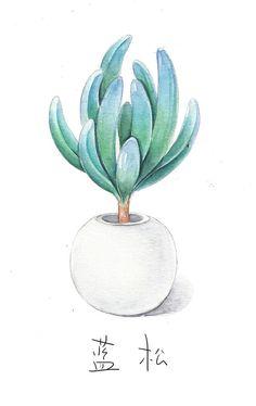 Simple succulent print of original watercolor minimal for Minimal art kunstwerke