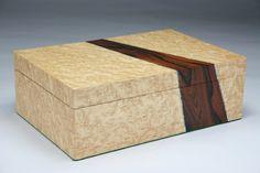 ON SALE **** Merizo (Divide) Birds Eye Maple Brazilian Rosewood Jewelry box