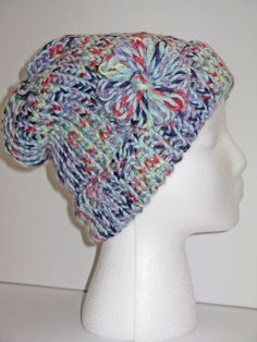 Adult Size Blueberry Knit Hat w/ Floral by ToOurMoonAndBack, $25.00