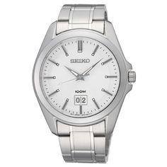 Klassisk sølvfarget klokke med datovisning fra Seiko - 10ATM - Gullfunn Gents Watches, Rolex Watches, Watches For Men, Seiko Men, Stainless Steel Case, Quartz Watch, Omega Watch, Stuff To Buy, Shopping