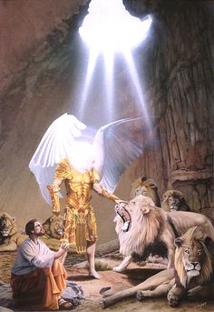 """Daniel in the Lions Den"" is a watercolor painting by artist Greg Gopp. ""My God hath sent his angel, and hath shut the lions' mouths, that they have not hurt me..."""