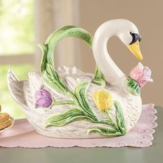 Beautiful Hand Painted With Colorful Flowers Swan Teapot