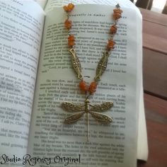 Outlander Necklace Dragonfly in Amber Necklace by StudioRegency