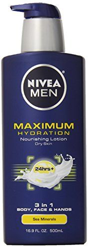 NIVEA Men Maximum Hydration Lotion for Dry Skin, 3 in 1 Body, Face and Hands Sea Minerals 16.9 Ounce
