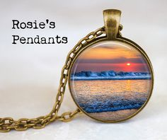 Sunset over the Ocean - Handcrafted Pendant Necklace - Beach Jewelry - Summer Vacation Jewelry - Surfer Girl Jewelry - Surfing Quote on Etsy, $14.50