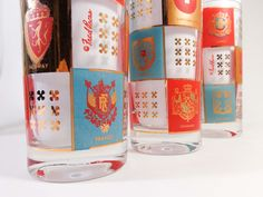 Vintage Set of 7 FRED PRESS Highball Glasses, 20 European Coat of Arms Theme http://www.ebay.com/itm/252205620845?ssPageName=STRK:MESELX:IT&_trksid=p3984.m1555.l2649