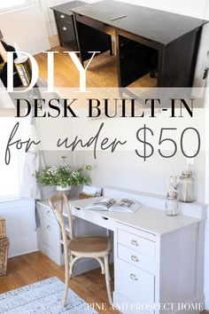 A DIY Desk Built-in for Under $50? YES! You're reading that right. I can't wait to share this fun project with you guys, I am just so pleased with the results!