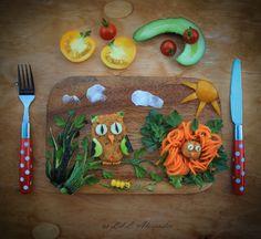 Chickpeas and sweet corn burgers with raw veggies from my organic garden. #foodart #pickyeaters #funfood #childrenfood #veggies www.lillalexander.com