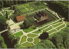 Menkemaborg. Menkema Castle in the north of the Netherlands, floats wonderfully on water. The maze can be seen at the top of the picture.