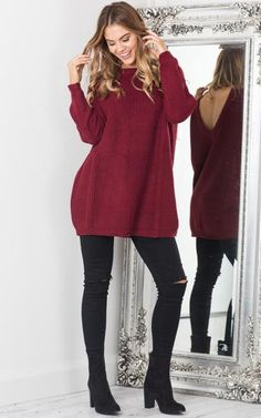 Open V-back Sweater Loose Pullover Women Basic Casual Knitwear
