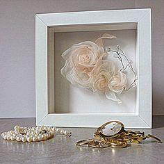 I love the idea of a shadow box with my bridal hair clip. DIY tutorial, shadow box, ikea ribba frame diy,