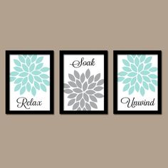 Aqua Gray Bathroom Wall Art Canvas Artwork Relax Soak Unwind Dahlia Flower  Choose Colors Set ofBathroom Wall Art Relax Soak Unwind Abstract by HLBhomedesigns  . Bathroom Artwork. Home Design Ideas