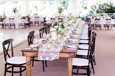 Rustic table and pretty lace runner: http://www.stylemepretty.com/little-black-book-blog/2015/09/03/classic-southern-cheekwood-botanical-gardens-wedding/ | Photography: Bamber Photography - http://bamberphotography.com/