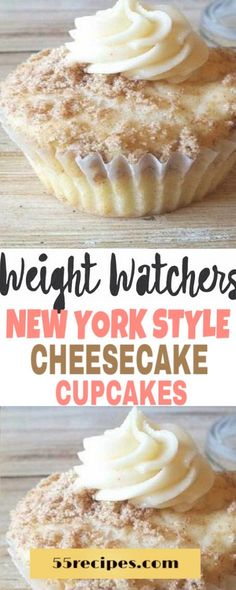 New York Style Cheesecake Cupcakes - Weight Watchers Cupcakes, Weight Watchers Cheesecake, Weight Watchers Muffins, Weight Watchers Meal Plans, Weight Watchers Desserts, Weigh Watchers, Low Fat Snacks, Yummy Healthy Snacks, Healthy Desserts