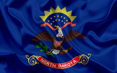 Download wallpapers North Dakota State Flag, flags of States, flag State of North Dakota, USA, state North Dakota, blue silk flag, North Dakota coat of arms
