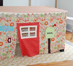 Fun playhouse idea to throw over the dining room table. Of course, in my house it will probably have to be a castle.