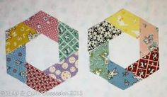 Tutorial for hand-piecing a 'twisted hexagon'.