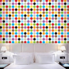 Large multidot removable wallpaper. Peel & stick vinyl. Reusable, non-toxic, BPA free. Made in USA. $148 for a half kit