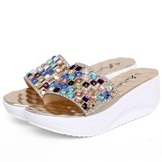Increased 2017 color diamond is cool procrastinate With high waterproof Taiwan show white cool sandals women's shoes