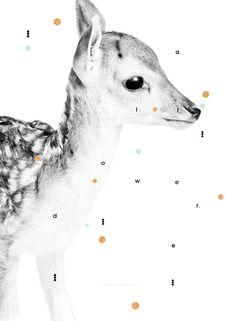 DAMHERTEN DAMA Print-Kids kunst afdrukbare door AtelierKokoon