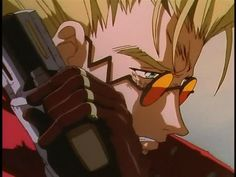 Vash the Stampede cries when he is forced to take a human life.  Not my favorite anime but this part was pretty touching and sad.
