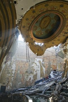 The National Theater - abandoned in Detroit, Michigan - it was designed by Albert Kahn in art nouveau style and opened in 1911 as a vaudeville house. Closed in 1975.