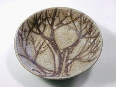 Ceramic Round Bowl with Brown Tree Pattern in the brushwork of Brenda Andersen