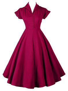 Amazon.com: iLover Womens Classy Vintage 1940's Short Sleeves Rockabilly Swing Evening Dress: Clothing Retro Mode, Vintage Mode, Look Vintage, Retro Vintage, Vintage Party, Vintage Outfits, Vintage Dresses 50s, Retro Dress, 40s Dress
