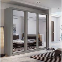 56 new ideas bedroom wardrobe modern sliding doors Sliding Mirror Wardrobe, Sliding Door Wardrobe Designs, Mirror Closet Doors, 4 Door Wardrobe, Sliding Closet Doors, Bedroom Wardrobe, Mirror Bedroom, Wardrobe Ideas, Bedroom Wall