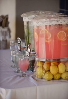 Pink Lemonade for the wedding reception. nice touch of color