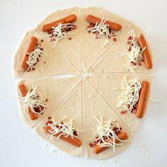 Luksus pølsehorn med ost og <br>bacon