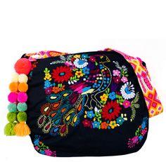862df79eb Bolsa Neverfull color NEGRO bordada a Mano. con pompones. Mexican bohemian  style bag.