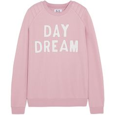 Zoe Karssen Day Dream leather-appliquéd cotton-blend jersey sweatshirt (260 BRL) ❤ liked on Polyvore featuring tops, hoodies, sweatshirts, sweaters, shirts, sweatshirt, pink, embellished shirt, loose tops and cotton jersey