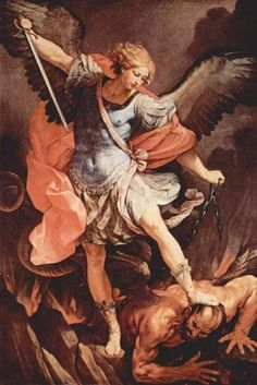 Archangel Michael Tramples Satan by Guido Reni Michael And Lucifer, St. Michael, Michael Gabriel, Saint Gabriel, Catholic Art, Religious Art, Satan, St Michael Prayer, Types Of Angels