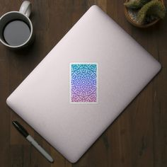 Colorful Geometric Mandala Design Blue Purple Magenta Gradient - Pattern - Sticker | TeePublic Geometric Mandala, Geometric Designs, Mandala Design, Magenta, Purple, Blue, Cool Stickers, Laptop Stickers, Cool Walls