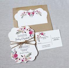 Invitación de la boda Boho invitación Floral de por LoveofCreating