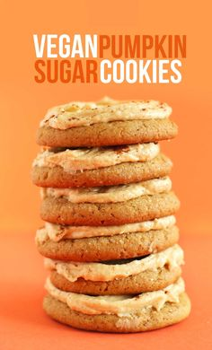 Vegan Pumpkin Sugar Cookies. #autumn #Halloween #Thanksgiving