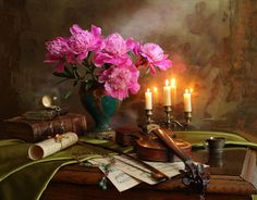 Still life with violin, candle and flowers by Andrey Morozov on 500px