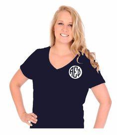 Alpha Epsilon Phi V-neck t-shirt featuring Greek Monogram. #aephi #alphaepsilonphi