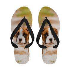 Boxer Puppy Dog Boxers Photo Flip Flops Sandals
