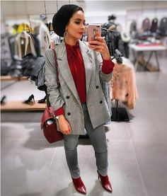 Checked blazer with hijab-Christmas hijab casual wear – Just Trendy Girls